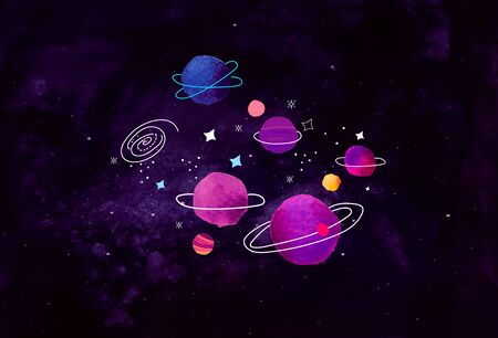 Cartoon Doodle Vector Elements on Watercolor Space Background.
