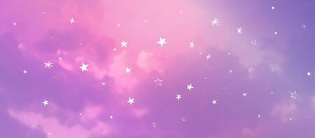 Contemporary Abstract Gradient Sky Background with Naive Stars 写真素材 - 148665810