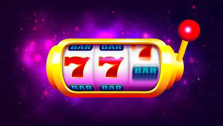 Spin and Win Slot Machine. Trendy Casino Design with Space Background 写真素材 - 148666800