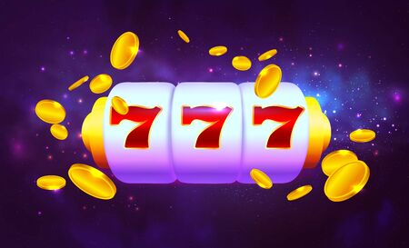 Spin and Win Slot Machine. Trendy Casino Design with Space Background