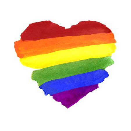 Watercolor Hand Painted Colorful Striped Rainbow Flag with Heart Shape 写真素材 - 149668271