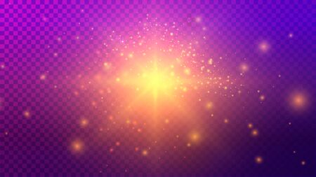 Purple and Yellow Light Effects on Dark Transparent Greed Background 写真素材 - 148666492
