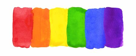 Watercolor Hand Painted Colorful Striped Rainbow Flag