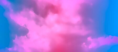 Contemporary Abstract Gradient Sky Background. Vivid Colored Realistic Vector Clouds  イラスト・ベクター素材