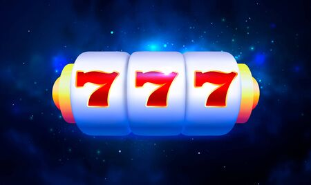 Spin and Win Slot Machine. Trendy Casino Design with Space Background 写真素材 - 149668279