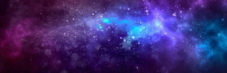 Vector cosmic watercolor illustration. Colorful space background with stars 写真素材 - 149398634