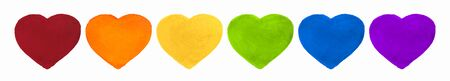 Watercolor Hand Painted Colorful Hearts Set. Rainbow Flag Isolated