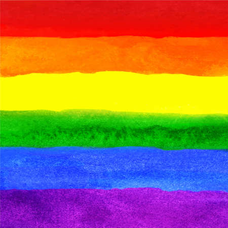 Watercolor Hand Painted Colorful Striped Ranbow Flag Isolated