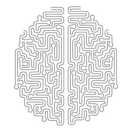 Brain Shape Maze Vector Design. Idea or Making Decision Concept