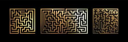 Decorative Gold Mazes Set. Metallic Foil Texture Labyrinth