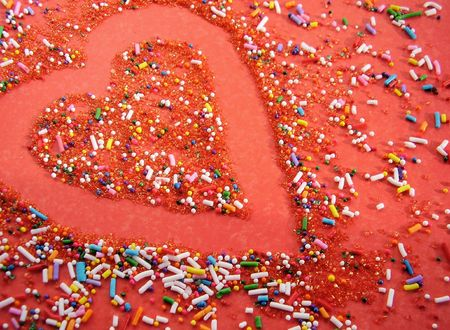 Red Sprinkled Heart Фото со стока