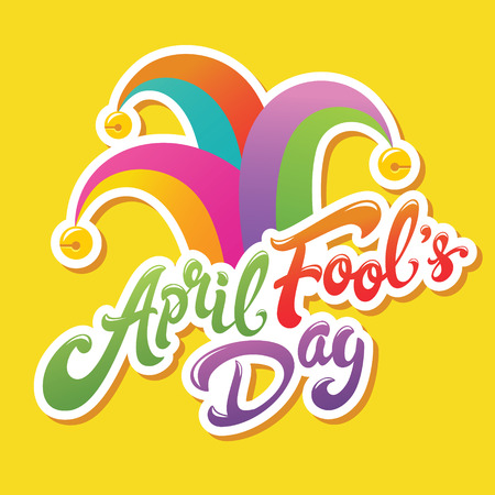 April Fools Day greeting. Colorful typography with jester hat lettering design. Perfect for greeting card, banner or advertisement.