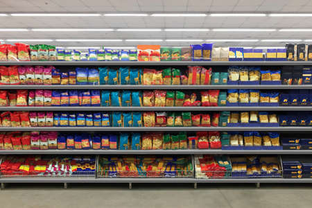 Pasta Packaging in a supermarket on a shelf. Suitable for presenting new diagram, planograms, plano grams, plan o grams, schematics or new design packaging among many others.