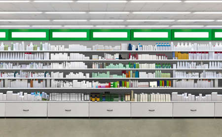 Closeup Drugs and pills on shelf. Skincare and Cosmetic products on shelves in pharmacy store interior. 3D rendering Suitable for presenting new products and new designs or labels among many others.