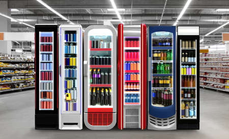 Slim Fridges Horizontal photo mockup Energydrink, Soda pop, Soft drinks cans and plastic bottles in Slim vertical freezer at supermarket. Suitable for presenting new bottles and cans among many other