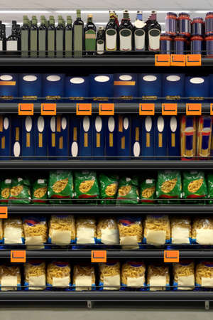 Pasta Packaging closeup in supermarket on a shelf. Suitable for presenting new diagram, planograms, plano grams, plan o grams, schematics or new design packaging among many others. Imagens