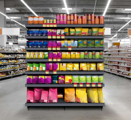 Pets Food on shelf in supermarket Suitable for presenting new planogram and new design packaging among many others. Imagens