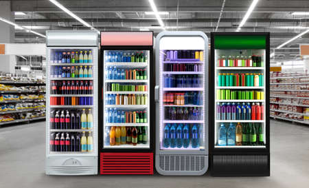 Slim Fridges Horizontal photo mockup Energy drink, Soda pop, Soft drinks cans and plastic bottles in Slim vertical freezer at supermarket. Suitable for presenting new bottles and cans