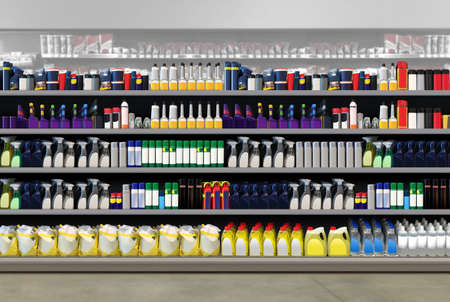 Auto cosmetics on shelf at Gasoline and petrol refill station store. Suitable for presenting new packaging or label designs among many others
