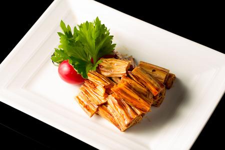 beancurd: Braised dried beancurd sticks, Chinese cuisine.