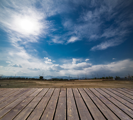 wooden platform before Landscape, sky and cloud photo