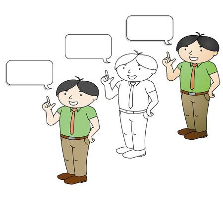 business meeting asian: un gar�on est en train de faire sa pr�sentation Illustration