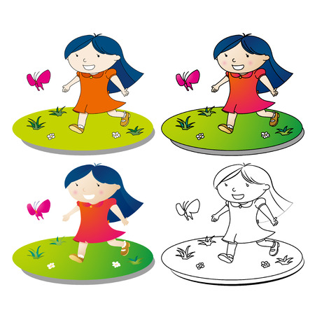 Happy little girl play on grass Vector