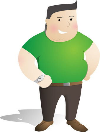 man in green smiles Vector