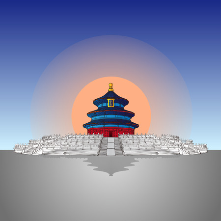 handdraw Tiantan which in Beijing Vector