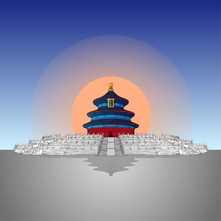 forbidden city: handdraw Tiantan which in Beijing