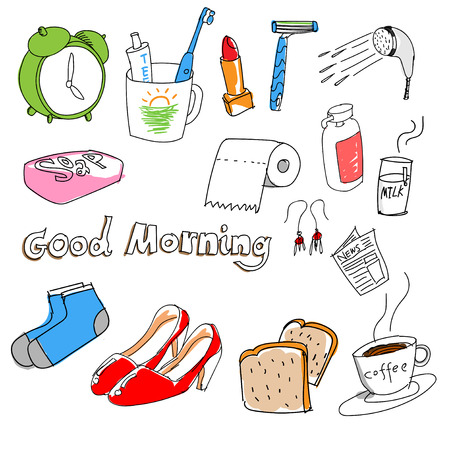 Hand-drawn stuff in the morning Vector