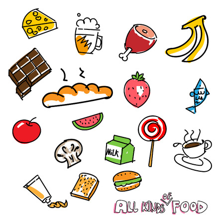 hand drawn all kinds of food for life Vector