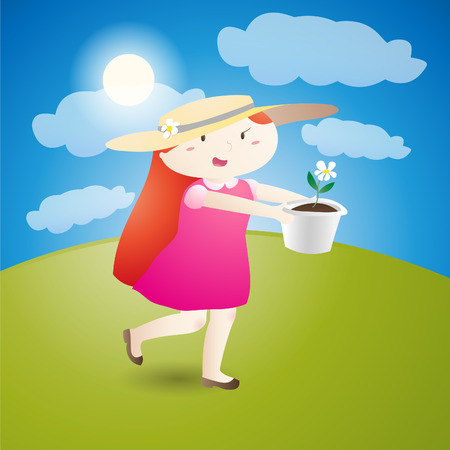 Girl is holding a flowerpot running on the grass in the sunshine Vector