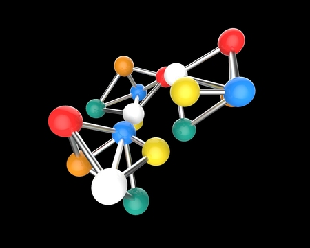 very colorful Molecular structure isolated in a black background  photo