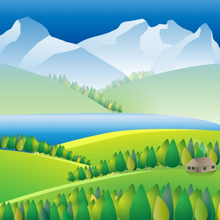 Landscape Wilderness landscape with river and mountains. Vector