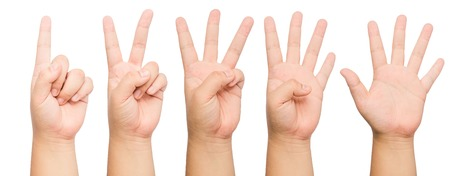 one finger: fingers showing 1 to 5