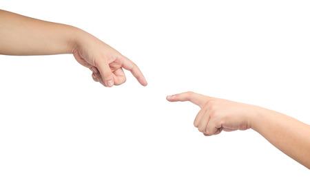 schöpfung: zwei Hände erreichen, mit den Fingern zu berühren.