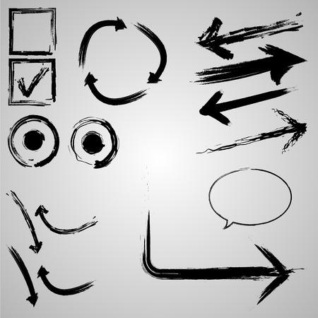 brush stroke: arrows, brush stroke set of different variations