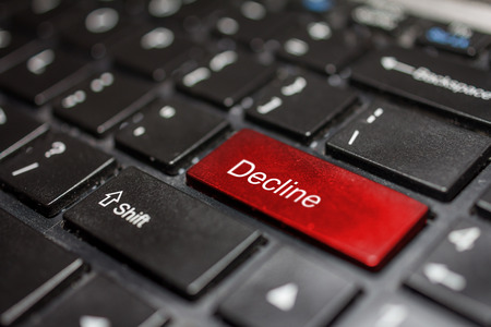 the decline: Keyboard - decline key Contact us, business background Stock Photo