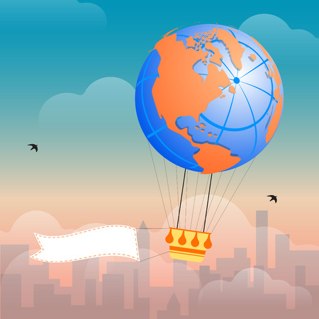 drifting: Hot Air Balloon and Clouds in the sky of a city