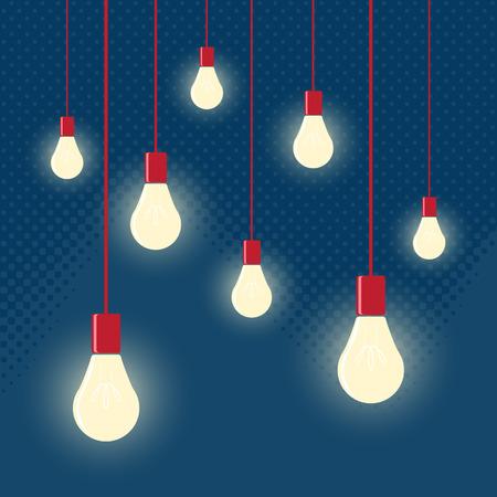 luz roja: vector de colgar las bombillas con profundidad de campo. El arte moderno