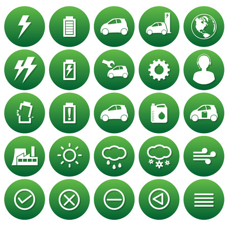 vector icons of electricity car and weathers Vector