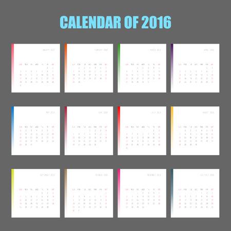 october calendar:  calender of 2016  Illustration