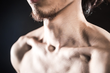 collarbone: detail collarbone of a man with muscle Stock Photo