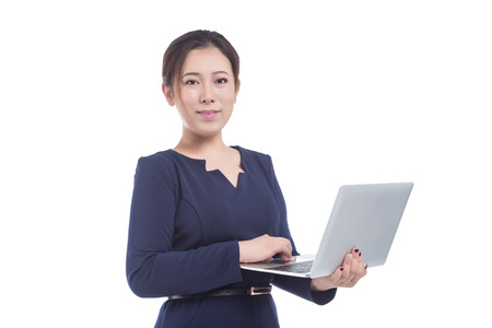 hand held computer: Woman hold laptop isolated on white background