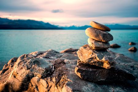 vedra: Zen stones on beach pukaki lake