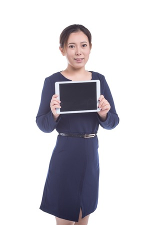 hand held computer: Woman hold tablet device isolated on white background