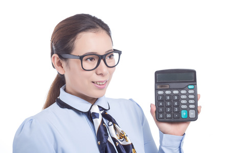 hand held computer: Woman hold Calculator isolated on white background