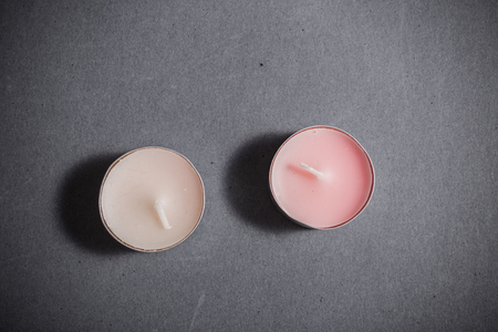 scented: scented candles on grey background