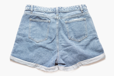jeanswear: Distressed Denim Shorts Ripped on white background
